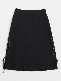 Grommet Side Lace Up A Line Skirt - Black