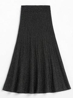 Glitter Elastic Waist Mid Calf Skirt - Black