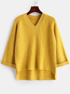 Pullover V Neck High Low Sweater - Yellow