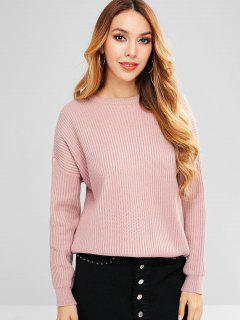 Loose Plain Pullover Sweater - Khaki Rose