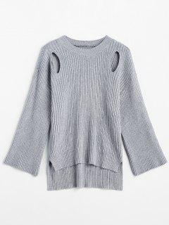 High Low Cut Out Schlitzpullover - Grau