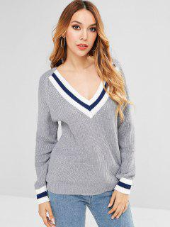 Raglan Sleeve Cricket Sweater - Light Gray