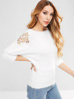Sequined Lace Panel Batwing Sleeve Mohair Sweater - White