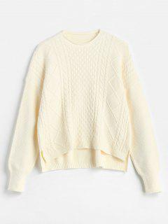 High Low Slit Cable Knit Sweater - Apricot