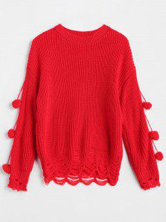 Drop Shoulder Pompom Ripped Sweater - Red