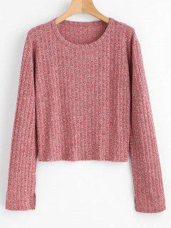 Ribbed Space Dyed Knit Top - Pale Violet Red