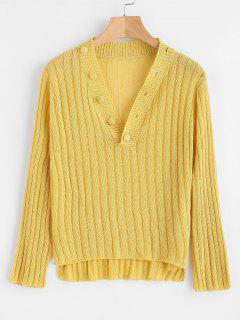 Shawl Collar Ribbed Knit Top - Yellow