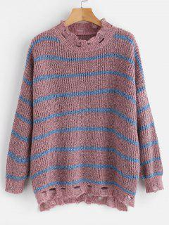 Distressed Striped Oversized Sweater - Multi