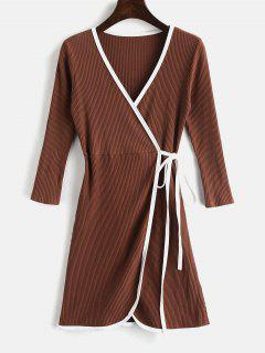 V Neck  Mini Knitted Wrap Dress - Brown M