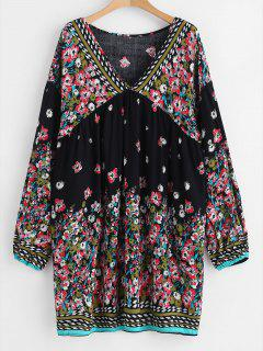 Vestido Floral Mini Shift - Negro M