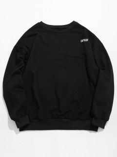 Captiudf Letter Print Patch Sweatshirt - Black M