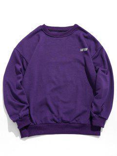 Captiudf Letter Print Patch Sweatshirt - Purple Iris Xl