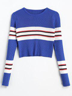 Striped Panel Ribbed Pullover Sweater - Cobalt Blue