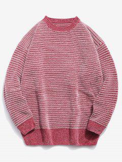 Soft Striped Knit Sweater - Pink Xl