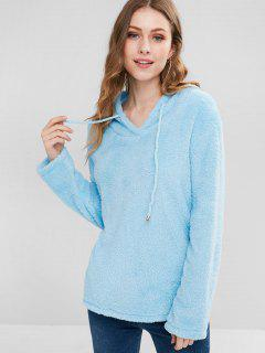 Hooded Drawstring Fur Hoodie - Deep Sky Blue S