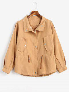 Drawstring Lightweight Jacket - Light Brown