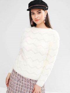 Pull Zigzag En Mohair - Blanc Chaud