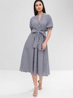 Mid Calf Plaid Dress - Multi L