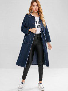 Frayed Button Up Denim Coat - Denim Dark Blue