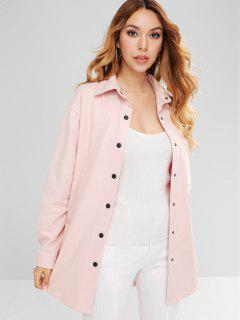 Pocket Oversized Tunic Shirt Coat - Pink Xl