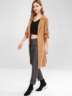 Knee Length Slit Long Coat - Light Brown L
