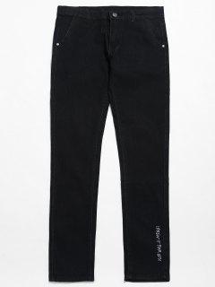 Left Bottom Letter Embroidery Ninth Jeans - Black 32