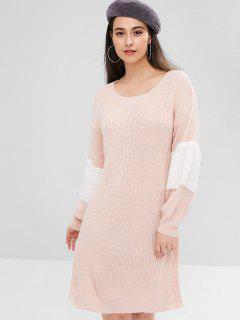 ZAFUL Kontrast Kunstfell Pullover Kleid - Helles Rosa L