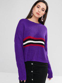 ZAFUL Drop Shoulder Striped Boxy Sweater - Purple Iris L