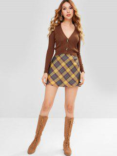 ZAFUL Button Front Crop Cardigan - Brown