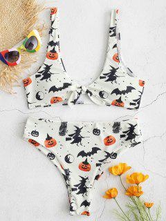 ZAFUL Halloween Knotted Bat Kürbis-Bikini-Set - Beige  S