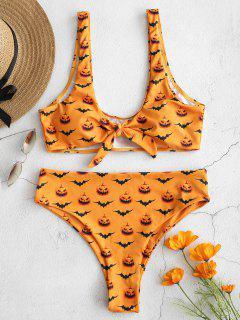 ZAFUL - Halloween-Knot-Bikini-Set Mit Print - Schulbus Gelb S