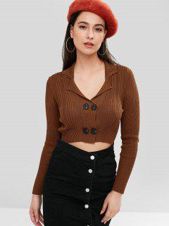 ZAFUL Double-Breasted Crop Cardigan - Brown