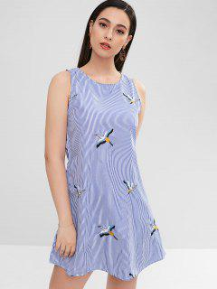 ZAFUL Side Pockets Embroidered Striped Flare Dress - Sky Blue L