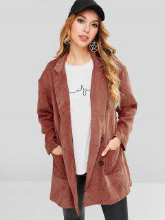 ZAFUL Patch Pockets Longline Corduroy Blazer - Chestnut Red M