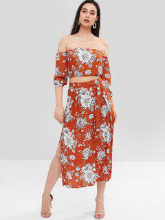 ZAFUL Floral Off The Shoulder Top Skirt Co Ord Set - Orange L