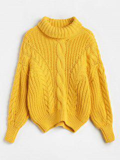 Turtleneck Chunky Cable Knitted Sweater - Bright Yellow
