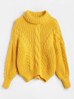 Suéter Tejido De Punto Grueso Con Cuello Alto - Amarillo Brillante