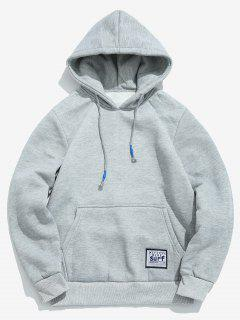 Solid Pouch Pocket Fleece Hoodie - Light Gray L