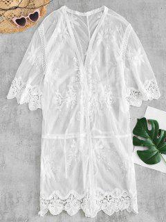 Ver Thru Crochet Panel Cover Up - Blanco