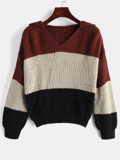 Mit Kapuze Farbblock Chunky Sweater - Multi