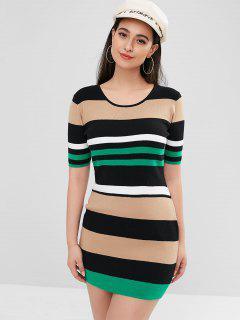 ZAFUL Mini Vestido De Suéter A Rayas De Colores - Multicolor L