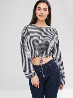 ZAFUL Drawstring Stripes Top - Black S