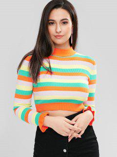 ZAFUL Colorful Stripe Crop Jumper - Multicolor L