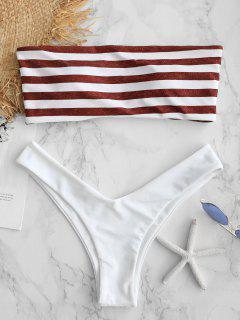 ZAFUL Stripe Strapless High Cut Bikini Set - Cherry Red L