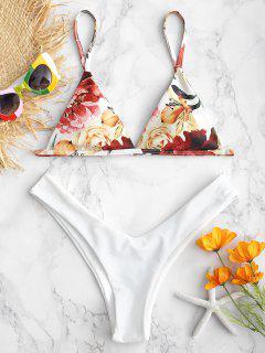 ZAFUL - Hoch Geschnittenes Bikini-Set Mit Blumenmuster - Weiß L