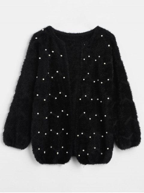 Einfarbige Perlen Fleece Cardigan - Schwarz Eine Größe Mobile