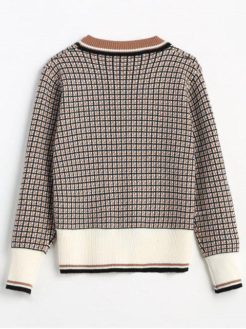 shop Button Embellished Checked Cardigan - MULTI ONE SIZE Mobile