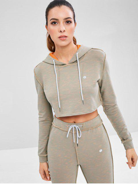 shop Stitching Drawstring Crop Hoodie - GRAY M Mobile