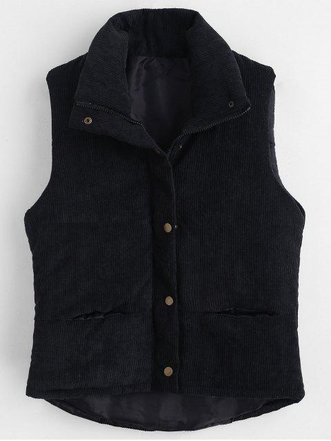 best Padded Zipper Corduroy Waistcoat - BLACK L Mobile