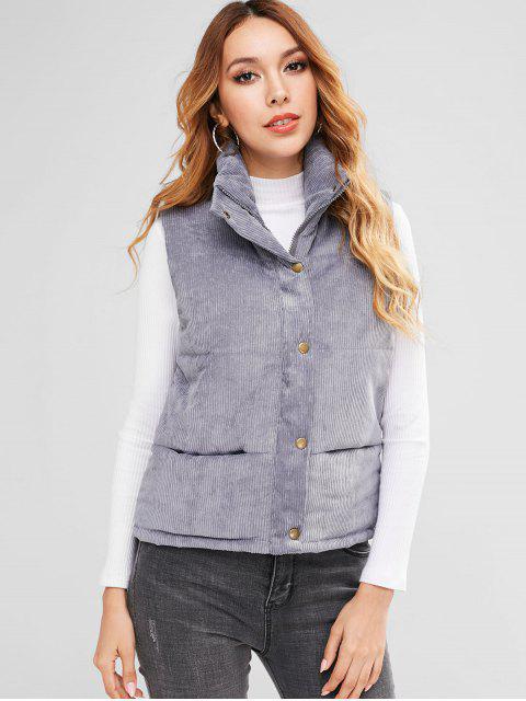 online Padded Zipper Corduroy Waistcoat - BLUE GRAY M Mobile